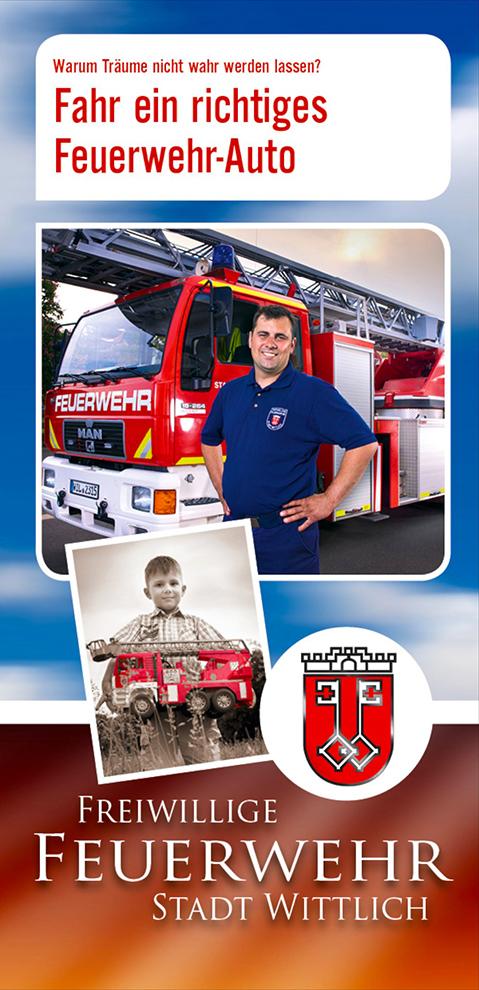 Flyer für die Freiwillige Feuerwehr in Wittlich zur Werbung neuer Mitglieder