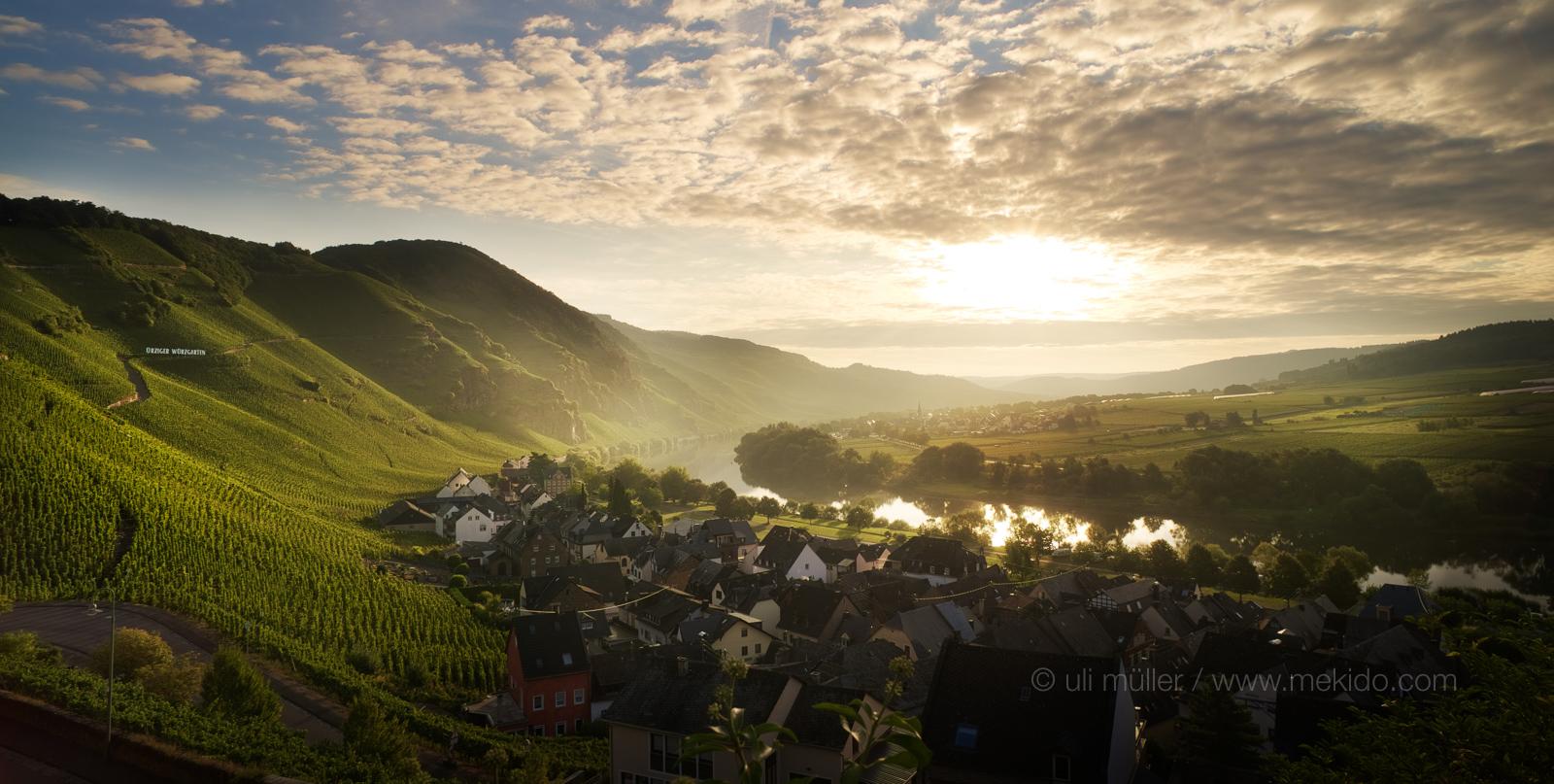 Ürzig an der Mosel mit der Weinlage Ürziger Würzgarten in der Morgensonne. Das Foto ist sehr gut für Touristik-Werbung geeignet.