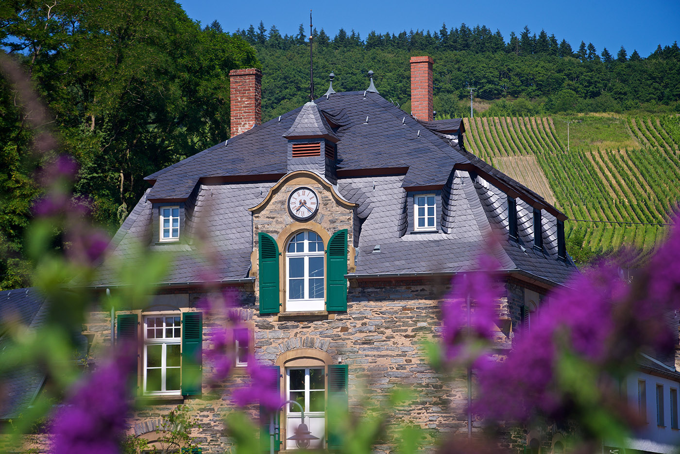 Architektur Fotografie an der Mosel, Weingut Schloss Lieser, Schieferdach. Kunde: Dachdecker Herges